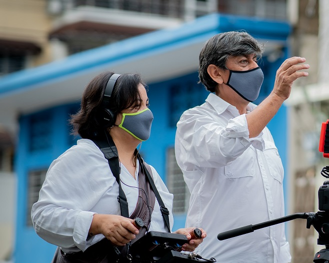 Orlando Barría y Erika Santelices Durante el rodaje de El fotógrafo de la 40